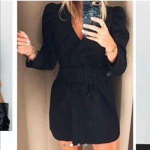 Dress Blazer Puff Sleeve Double Breasted Black
